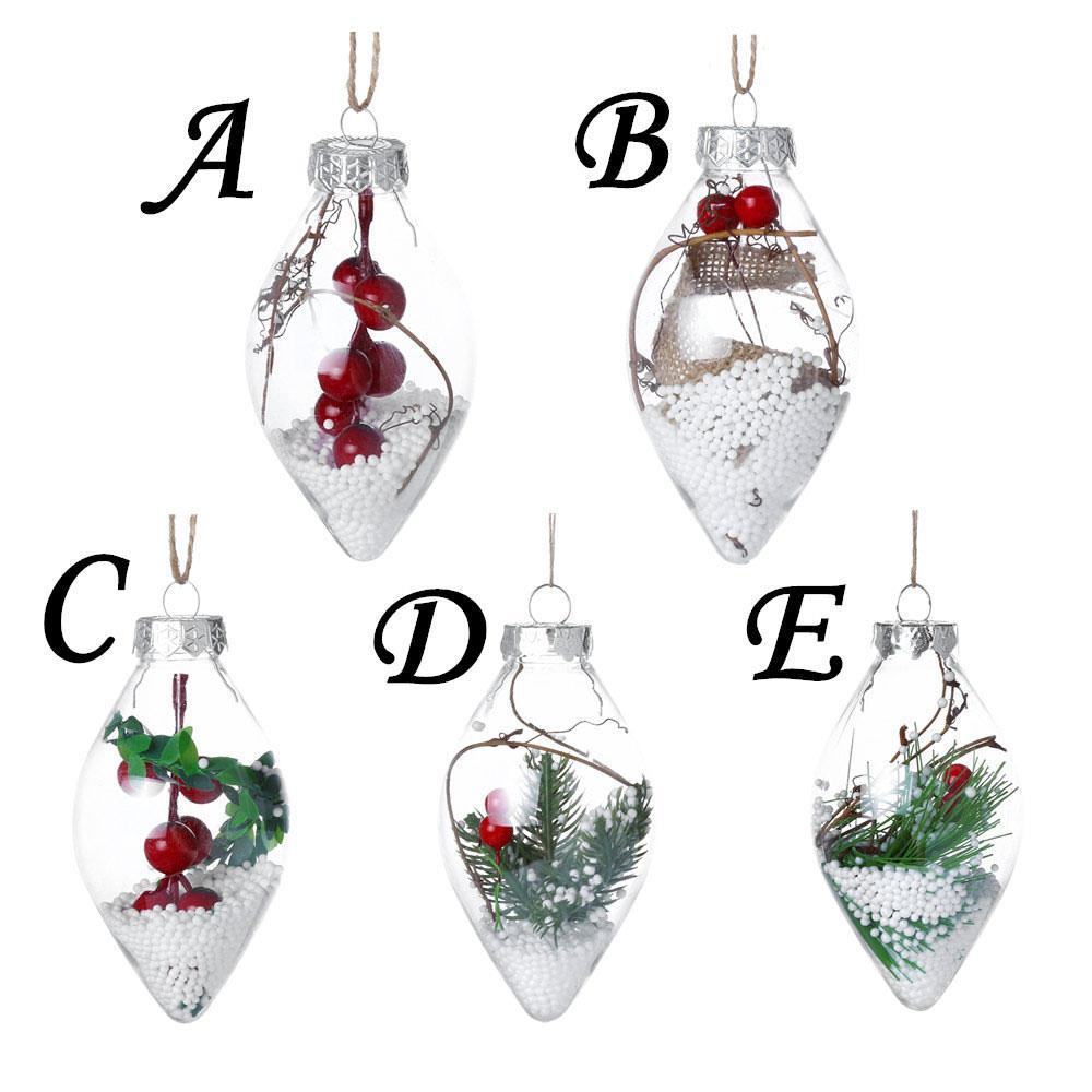 1pc Decorazioni natalizie per la casa Albero di Natale Appeso Palla a cuore Trasparente Può aprire Plastica trasparente Pallina a goccia Ornamento Regalo fai-da-te