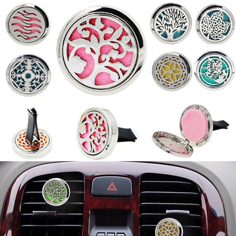 Diffusore deodorante per ambienti auto Life Car Diffusore in acciaio inox Deodorante Diffusore di oli essenziali con tampone di riempimento Vent Clip HH7-355