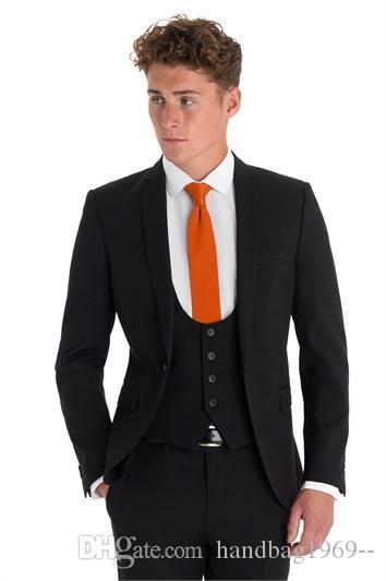 Neueste Design Ein Knopf-Schwarz-Bräutigam-Smoking Kerbe Revers Groomsmen Bester Mann Mens Hochzeitsanzüge (Jacket + Pants + Vest + Tie) D: 234