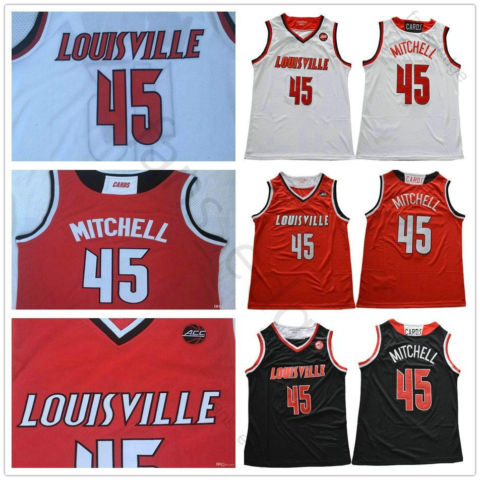 NCAA Louisville Cardinal Colégio Donovan # 45 Mitchell Basketball Jerseys Red Black White Cor costurado Donovan Mitchell Universidade shirt
