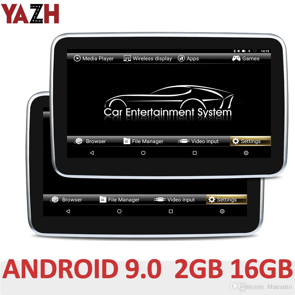 "YAZH 10.1 ""IPS 2기가바이트 16기가바이트 자동차 머리 받침 모니터와 안드로이드 1920 * 1080 HD 4K 비디오 FM 송신기 블루투스 HDMI에서 AV에서 9.0 파이"
