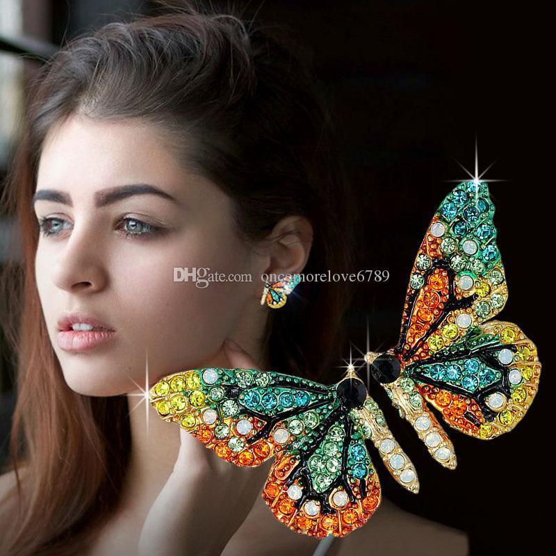 Designer de luxo brincos de asa de borboleta brincos Stud mulheres moda brincos de diamante meninas roupas acessórios de jóias para mulher 2019