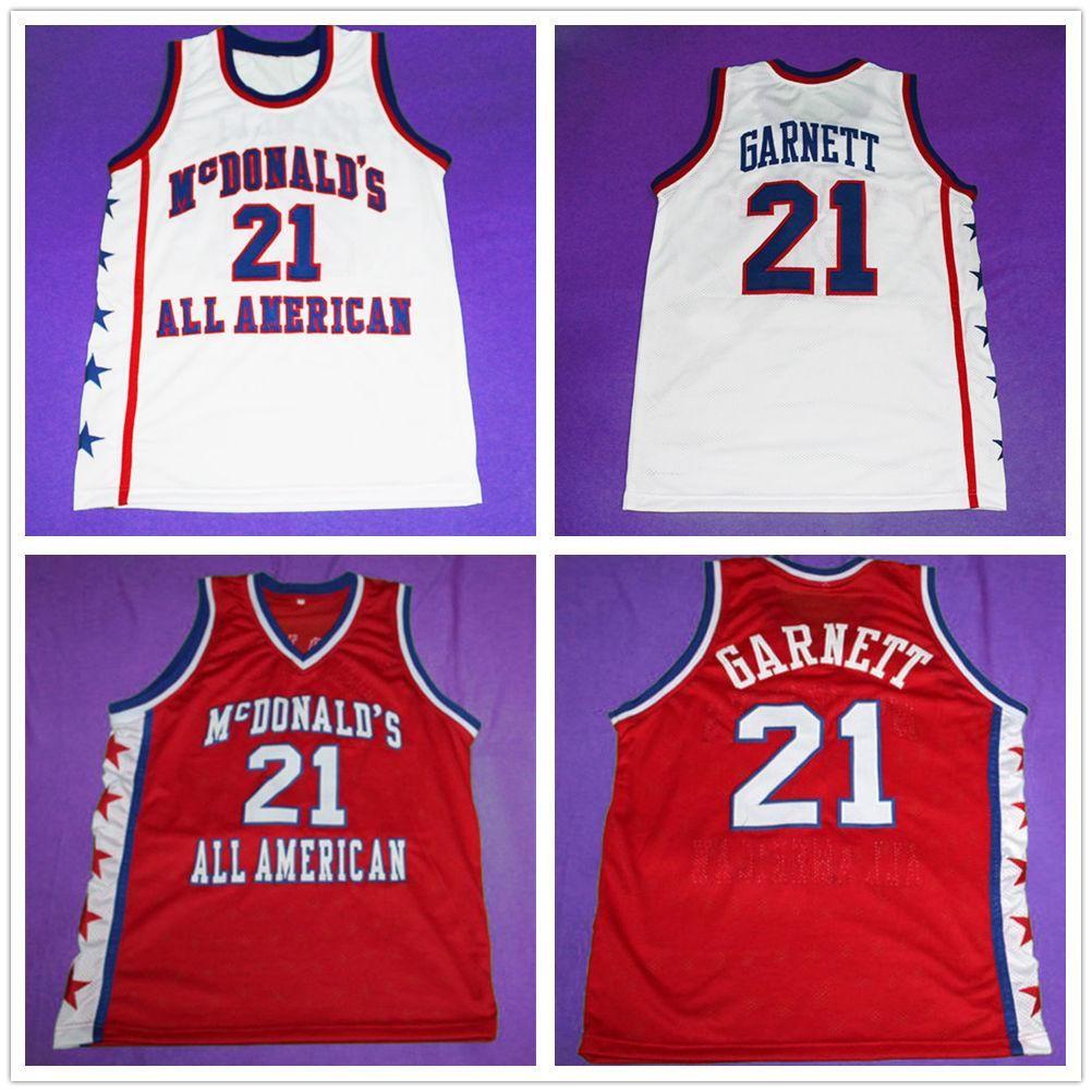 McDonald's All Retro American Kevin Garnett # 21 Retro Basketball Jersey Männer genähte benutzerdefinierte Nummernname Trikots
