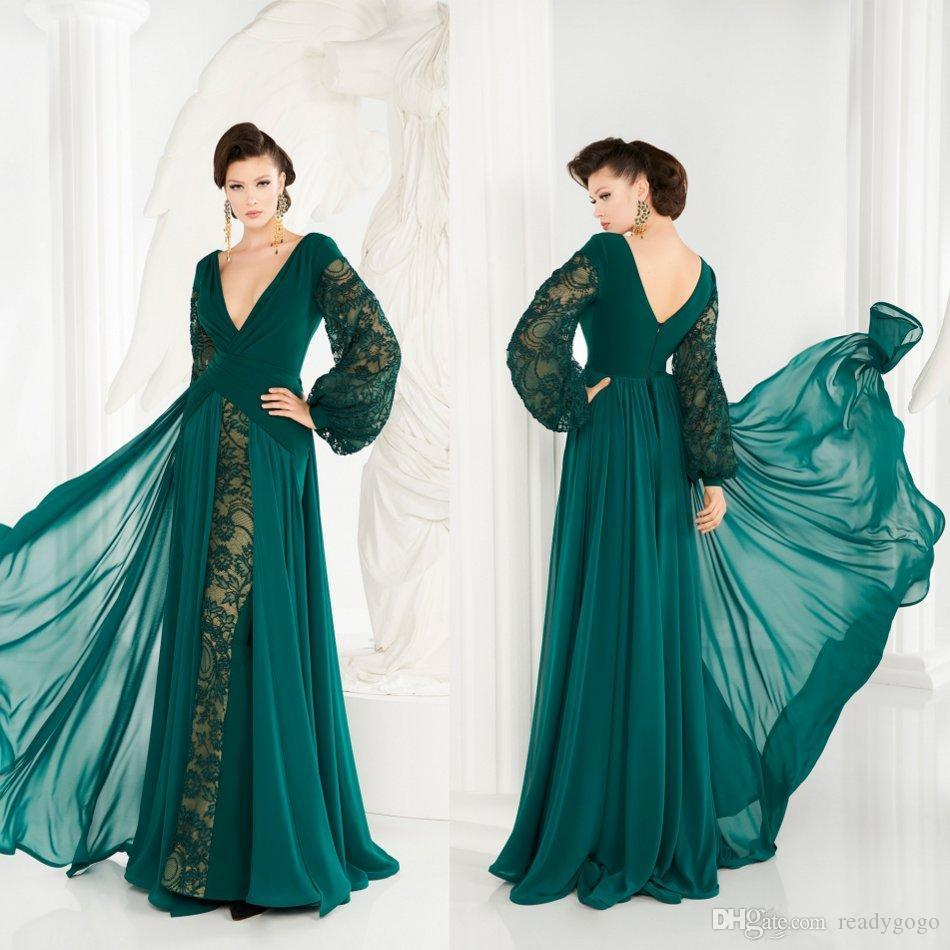 Modern Hunter Green Evening Formal Dresses with Long Sleeve 2020 Lace Chiffon V-neck Full length Occasion Prom Gown Robes De Soirée
