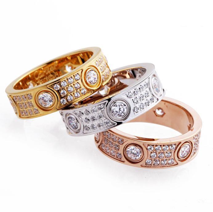Lüks Tam Elmas Aşk Yüzükler Paslanmaz Çelik Gül Altın Çift Bant Yüzük Moda Gümüş 18 K Altın Severler Yüzükler Kadın Erkek Güzel Takı