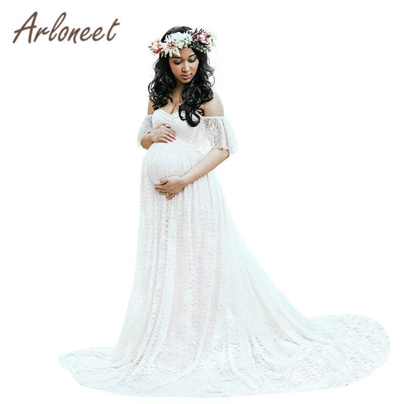 Maternity Dresses ARLONEET Clothes Women Off Shoulder Pregnants Pography Props Lace Sleeve Long Dress Summer Pregnancy