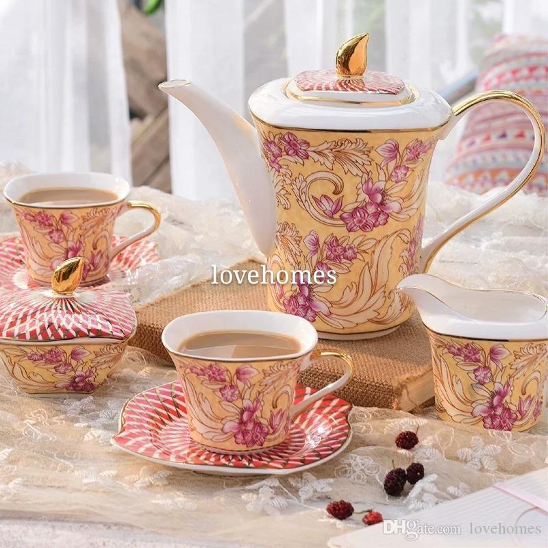 Престижный Drinkware 15шт Европейский Керамический кофейный набор Чайный сервиз фарфоровый кофейник кофе Кувшин Кубок блюдце setTP251