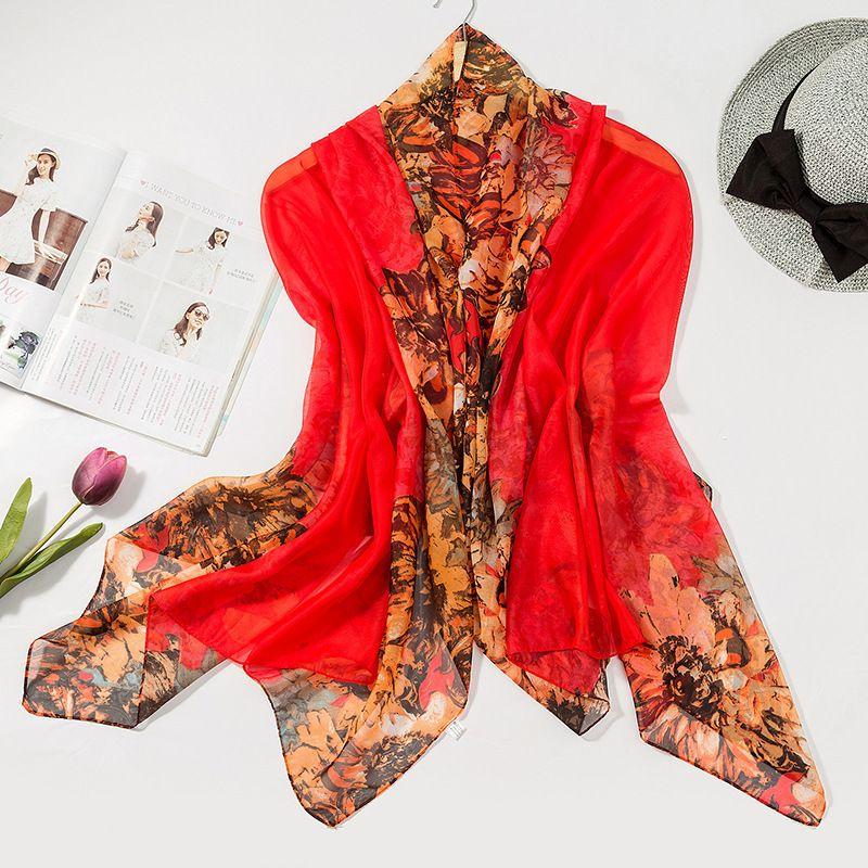 Imitar seda real Will bufanda de seda de la impresión de la bufanda de la gasa de la protección solar de arena de playa un trozo de tela de la manera caliente ShawlNew