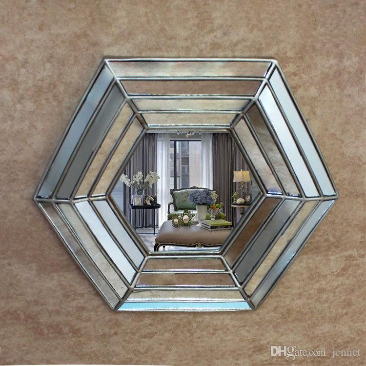 41 cm x 62 cm Europäischen Stil Eingangsdekoration Wandbehang Spiegel Amerikanischen Land badezimmerspiegel Restaurant Polygon Patch Spiegel