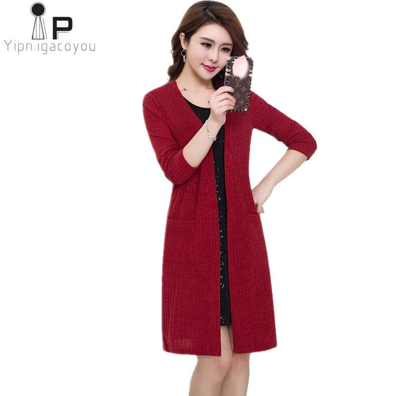 Spring Female cardigan 2019 Plus size Long sweater women Autumn New cardigan women shawl Wild coats Female Loose Elegant sweater SH190930