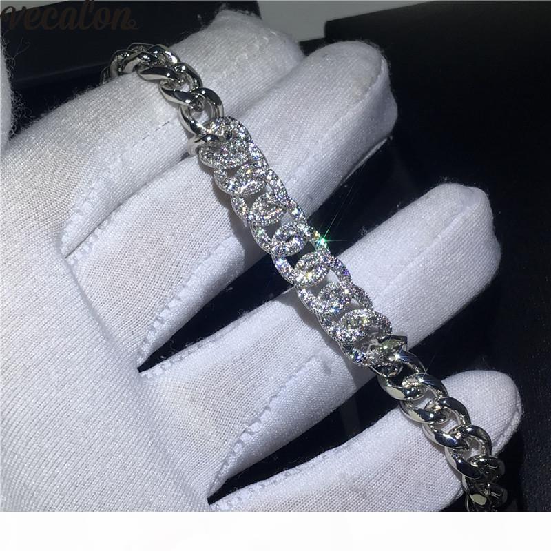 Vecalon Bangle Micro Pave 400pcs кубический цирконий 925 Sterling Silver Filled браслет браслет для Womens Wedding Accessaries подарок