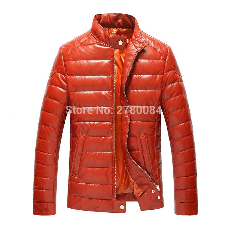 Usine mince duvet de canard manteau en cuir véritable costume peau de mouton véritable mâle vêtements en cuir vestes col debout tout match MASCULIN