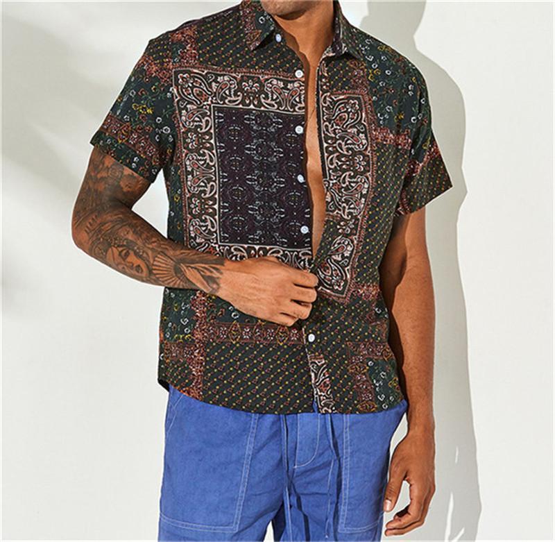 Designer Chemises de plage Bouton en vrac Casual manches courtes cou Chemises Mode Lapel Hommes Chemises Vintage imprimé hommes