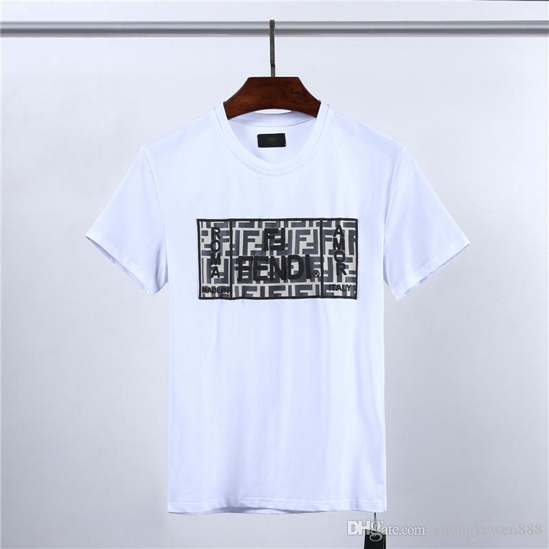 New 2020 spring and summer new high grade cotton printing short sleeve round neck panel black white T-Shirt M-3XL
