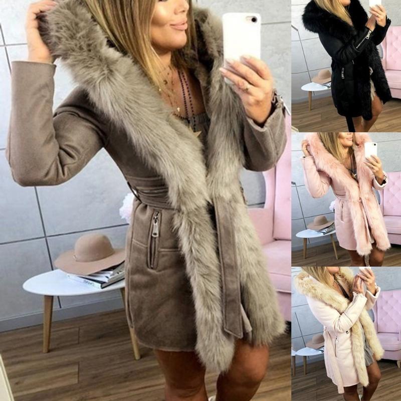 Abrigos mujer invierno Kadın Uzun Yün Coat Şık Blend Coats İnce Bayan Kürk Kat Kabanlar Ceket chaqueta mujer manteau