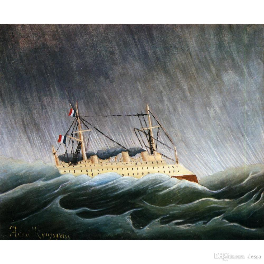 arte de la lona pinturas de animales de Henri Rousseau barco en una tormenta obra paisajes para la decoración del dormitorio regalo