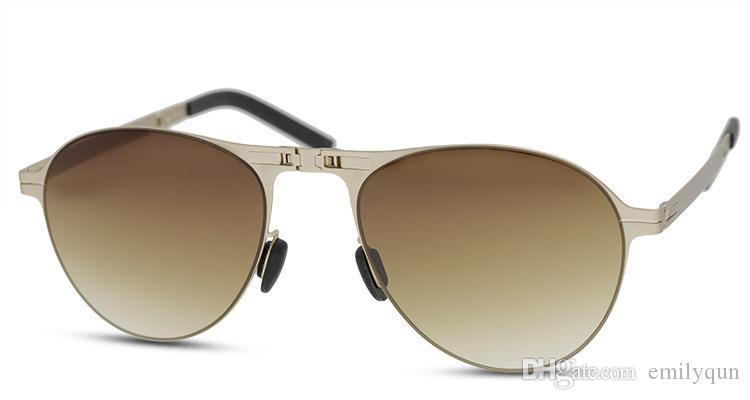 Marca los hombres plegables gafas de sol polarizadas gris y marrón lente gafas de sol de metal plegable de los vidrios de Sun de las mujeres de moda plegable con sombras original