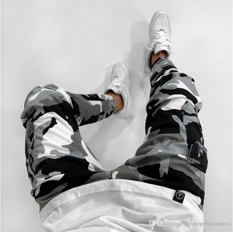 Camuflagem Imprimir Mens Designer Jeans Moda Mulit Pockets Zipper Skinny Mens Calças Lápis Casual Machos Vestuário