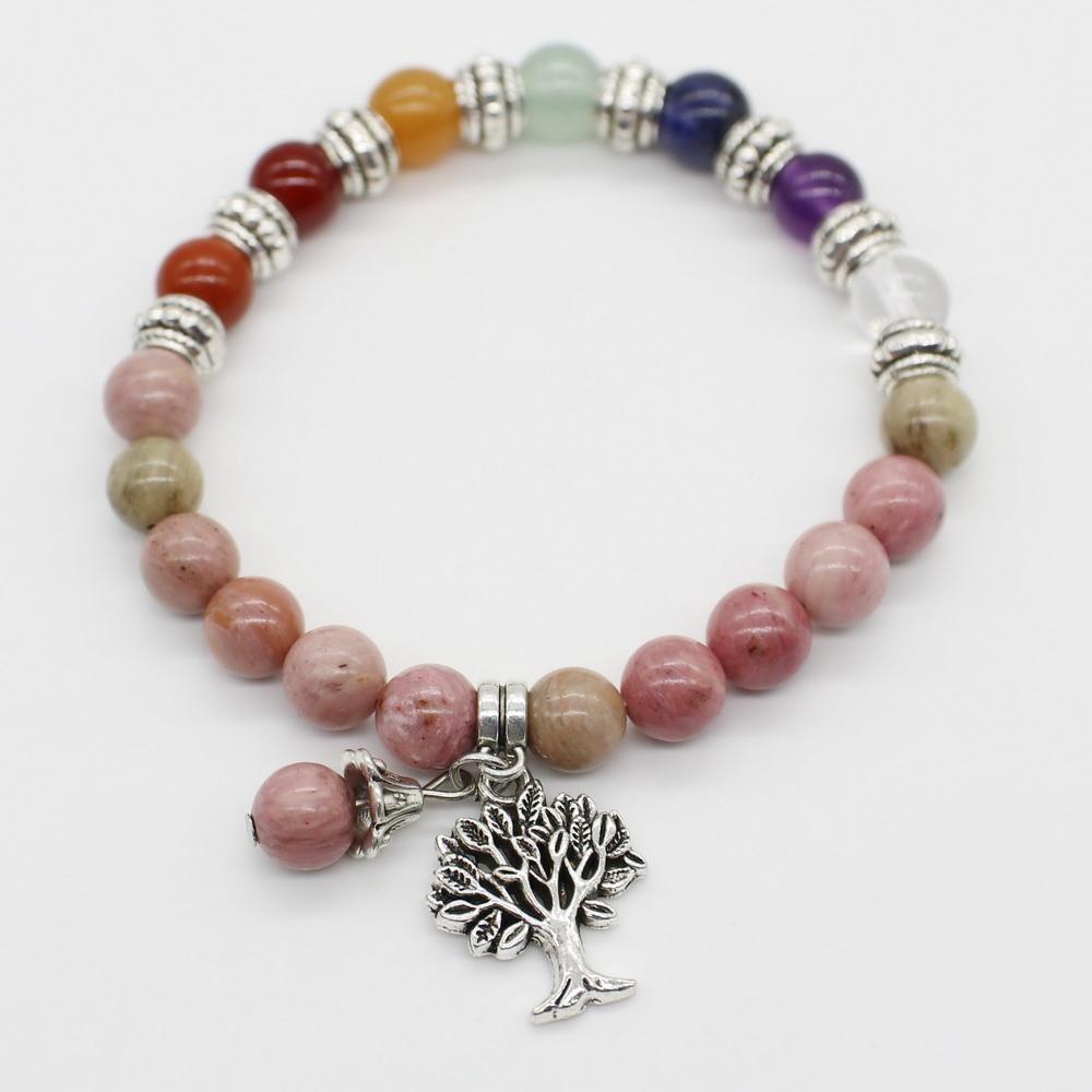 8 мм натуральный камень эластичный браслет с жизни дерево кулон и металлические бусины украшения для женщин подарок оптовая цена