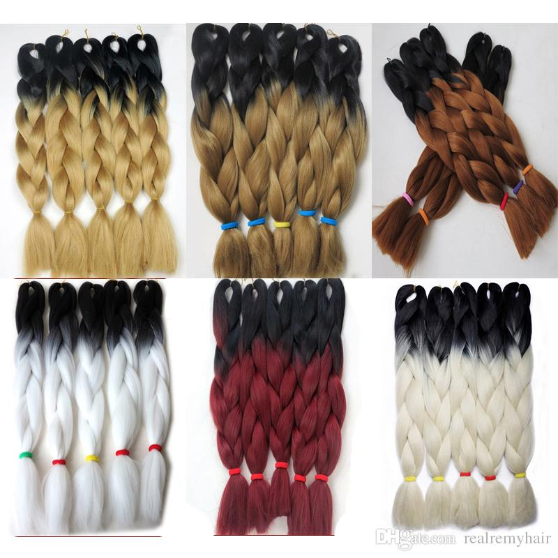 """2 PCS Ombre Couleur 24 """"100G Jumbo Tresses Synthétique Cheveux Jumbo Extension de Cheveux Afro Produits de Cheveux Deux Tons Haute Température Tressage"""