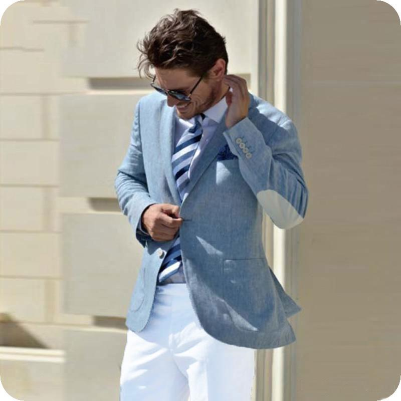 White Elbow Patch Blue Men Suits Summer Beach Wedding Casual Business Male  Blazers Man Jacket Latest Coat Pant Designs Costume Homme Prom Suit Rentals
