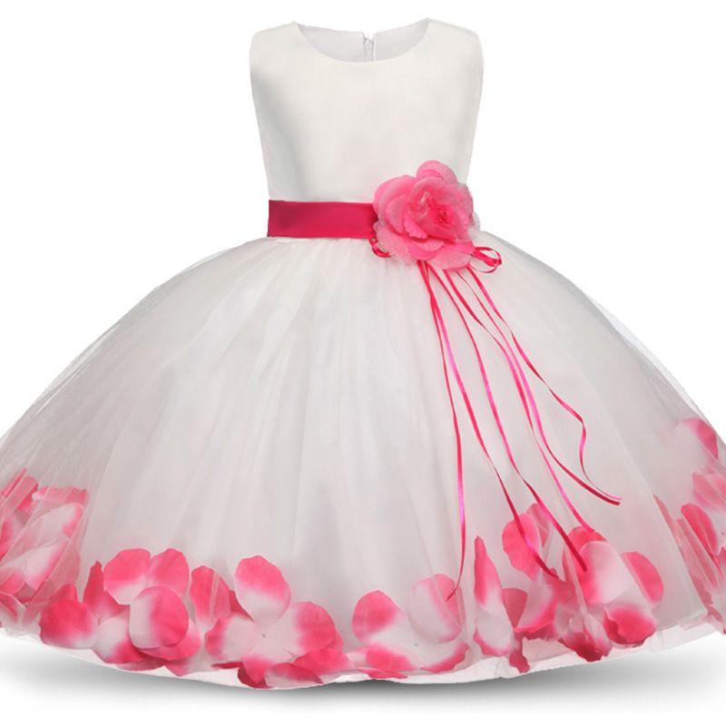 2020 Девушки Rose Petal Хем Симпатичные принцесса Цветочные платья Детские новогодние платья для девочек Свадьба День рождения Vestidos платье партии 4-10Y