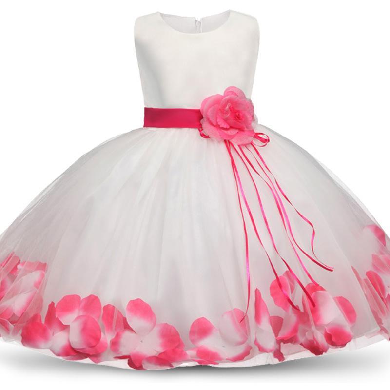 2020 ragazze Rose Petal Hem Principessa sveglia vestito floreale per bambini Abiti di Natale per la ragazza compleanno di cerimonia nuziale Abiti da partito del vestito 4-10Y