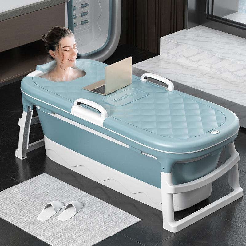 1.38m Large Bathtub Adult Childrens Folding Tub Massage Adult Bath Barrel Steaming Dual-use Baby Tub Home Spa Home Sauna 2size