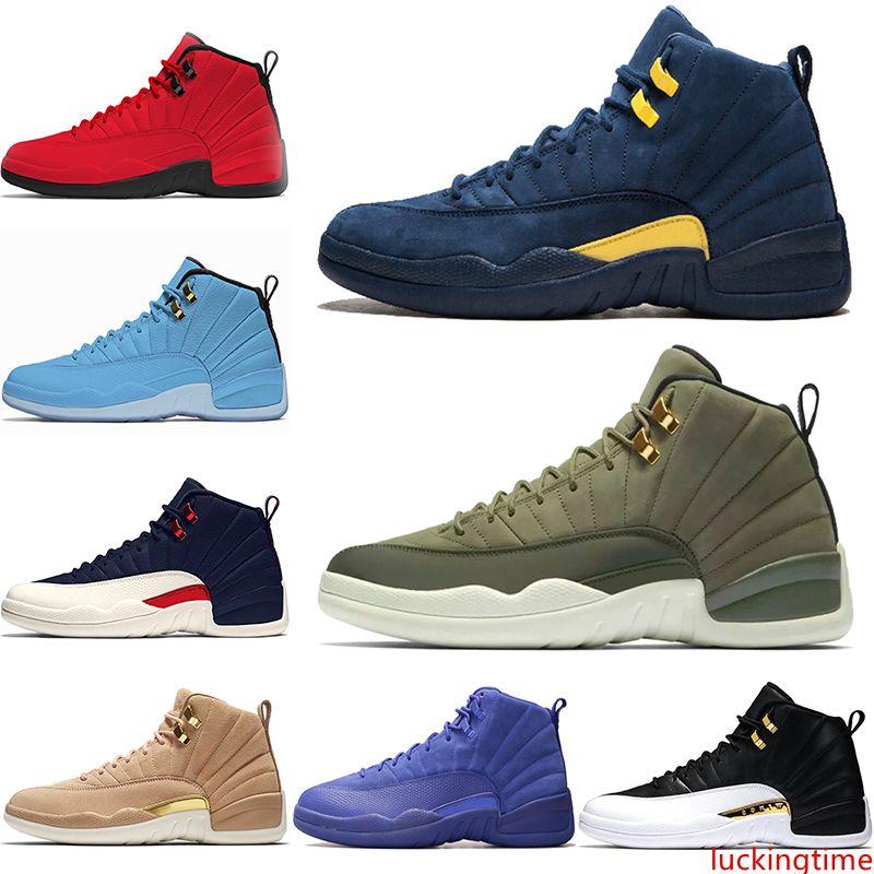 12 мужчины баскетбол обувь 12-го класса Крылья 2003 Мичиган Быков университет синий колледж ВМФ дизайнер тренер Спорт кроссовки скидка онлайн