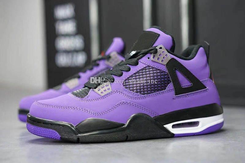 2018 Travis Scott x 4 4S Cactus Jack IV Purple Blue Basketball Shoes Sports Sneakers Authentic Basketball Shoes Size US 40-47