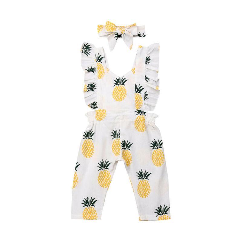 2020 Yaz Sonbahar Kız Bebek Romper Moda Ananas Ruffled Jumpsuit Sevimli 0-24M Bebek Giyim yazdır
