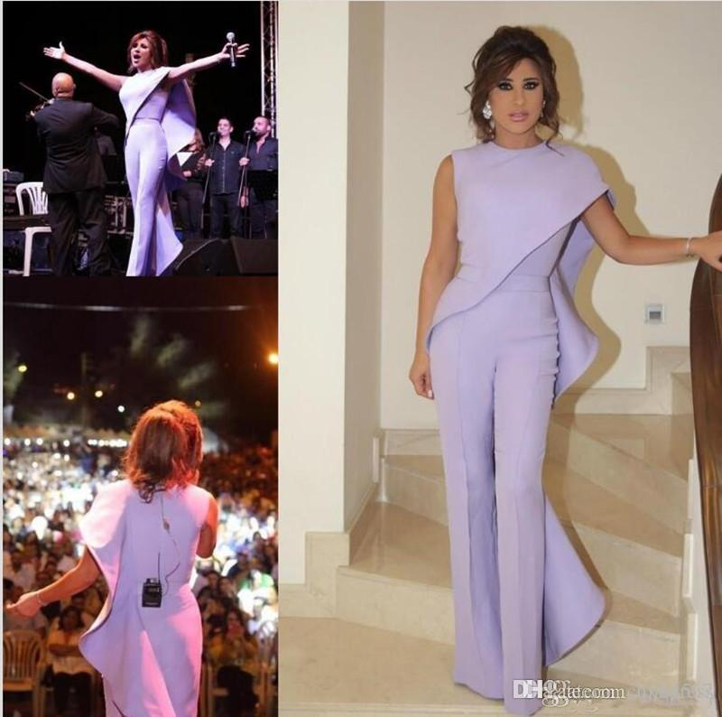 Lavender Jumpsuit Women Arabic Prom Evening Dresses 2020 New Jewel Neck Plus Size Formal Party Wear Cheap Sheath Ruffled Celebrity Gowns
