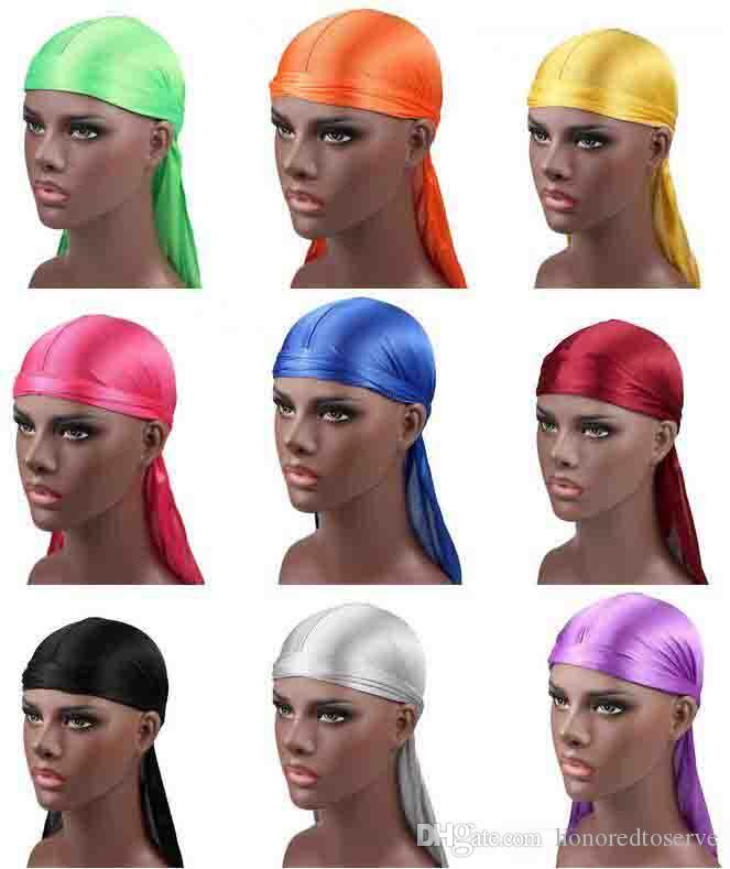 Nuevos hombres de la moda de satén Durags Bandana Turban pelucas hombres sedoso Durag Headwear diadema pirata sombrero accesorios para el cabello