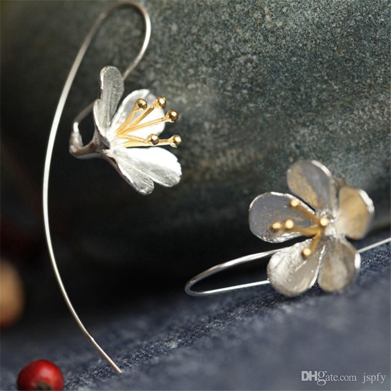 Authentic 925 Sterling Silver Flower Long Tassel Earrings For Women Thai Silver Drop Earring Lady Sterling-Silver-Jewelry