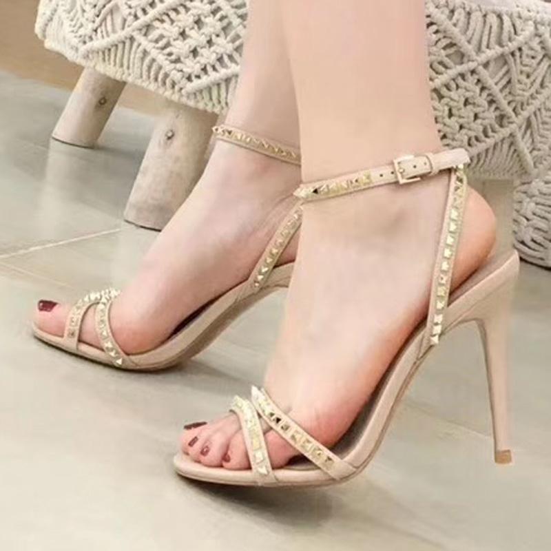 mulheres designer de alta saltos partido moda rebites sensuais sapatos de dança sapatos de casamento sapatos sandálias duplas cintas