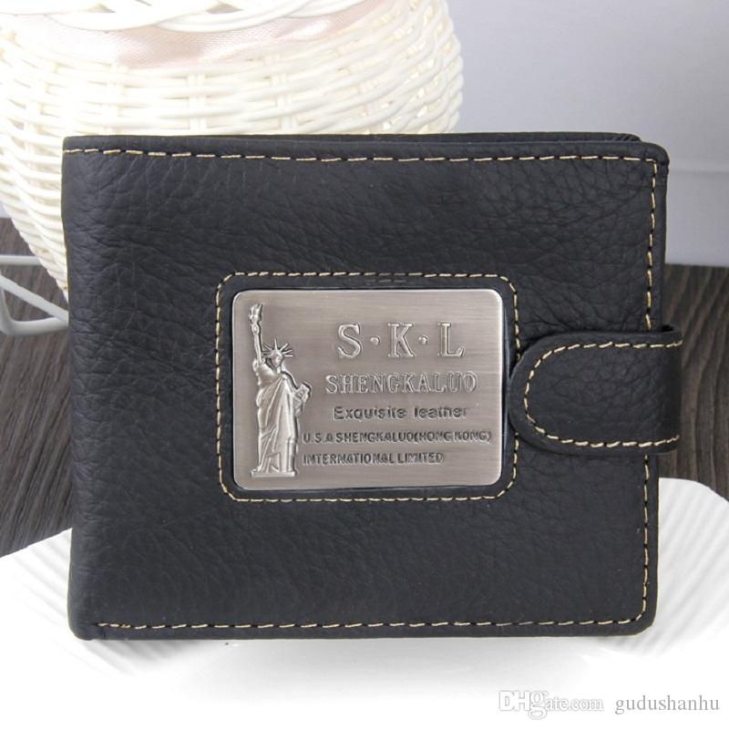2019 Genuine Leather Men Wallet Short Vintage Handmade Crazy Horse Cowhide Male Small Card Holder Coin Purse With Pocket AA277ZO6