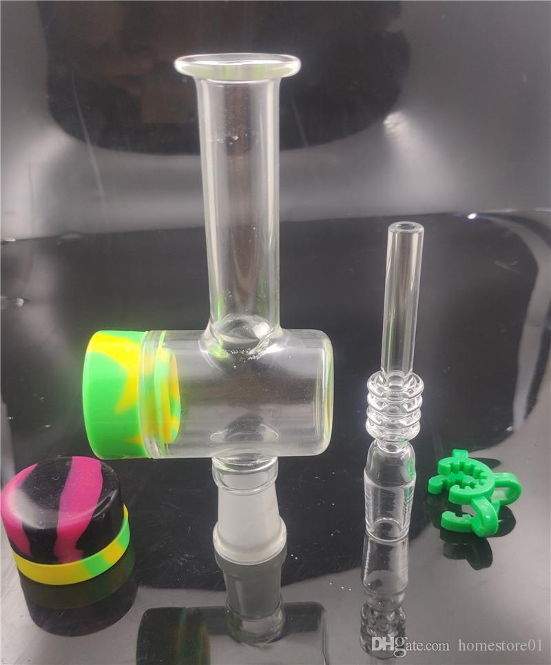 Bong en verre avec 14mm 18mm Quartz ongles Conseils Keck clip silicone Container Récupérateur tuyau de brûleur à mazout