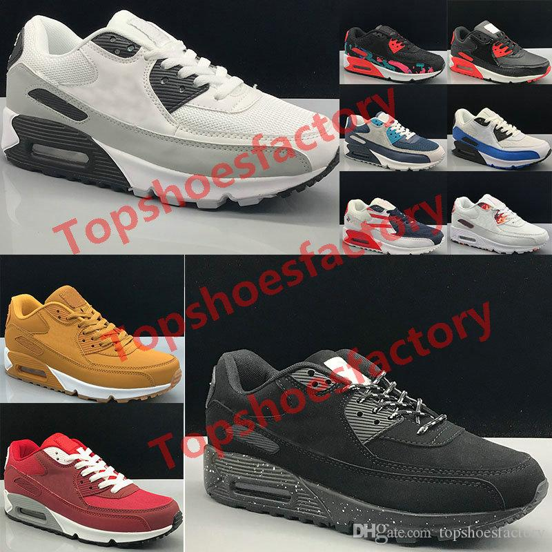 Wholesale Classic Max 90 Men and women Running Shoes Fashion Men Sneakers Shoes Sports Trainer Cushion 90 Surface Breathable Sports Shoes
