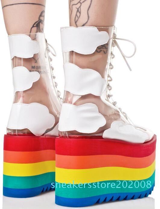 Pista de decolagem Calçados do arco-íris da cor dos doces Meias Botas Alta Plataforma Wedges Transparent Botas Limpar PVC Lace Up aumentando sapatos s08