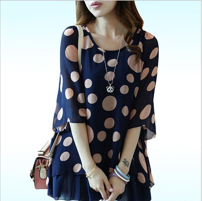 Designer camice camicetta delle donne Feminina Robe coreano 2019 Nuovo estate più il formato dolce increspature indossare in ufficio Pois Chiffon Tops Hj859