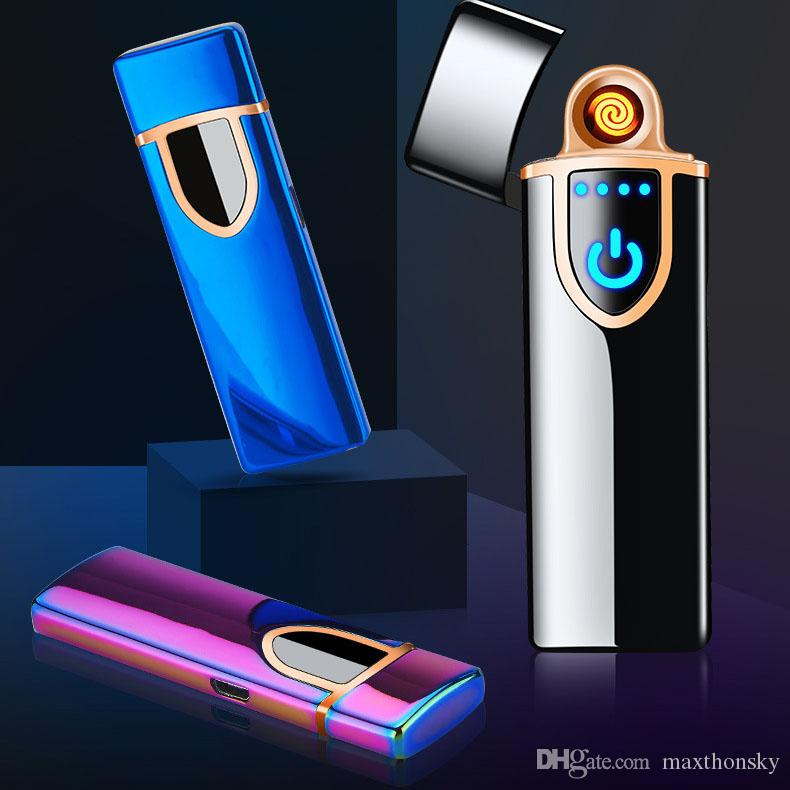 utility electric USB rechargeable cigarett lighter touch sensitive control switch Tungsten heater windproof metal blue black gold h18070