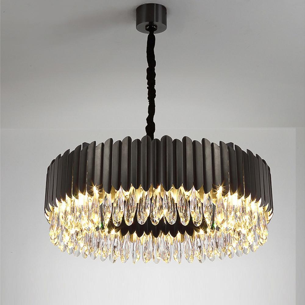 lüks kristal ışık avize paslanmaz çelik lamba AC110V 220V yemek odası oturma odası altın siyah avizeler yanar
