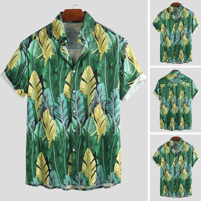 Печать Мужчины гавайке дышащие 2020 Кнопка Марка вскользь с коротким рукавом Мода Мужские рубашки Пляж Streetwear Camisas HOMBRE