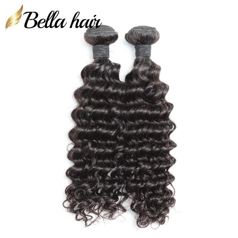 """Onverwerkte Menselijke Maagd Haarbundels 10 """"-28"""" Indian Hair Extensions Double Inslag Natural Color Diep Wave Bella Hair"""
