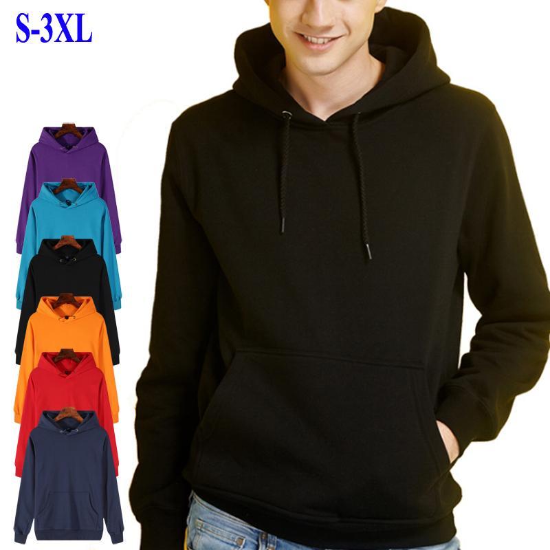 고품질 솔리드 컬러 남성 후드 스웨터 긴 캐주얼 남성 스웨터 패션 대형 면화 남성 의류 슬리브
