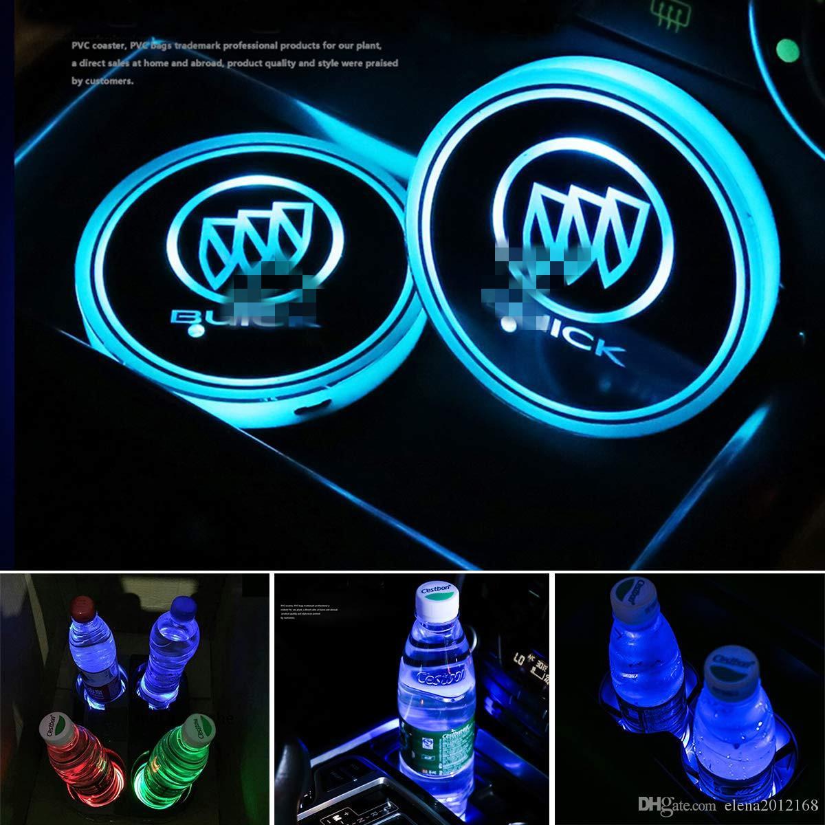 뷰익을위한 2 개 LED 자동차 컵 홀더 조명, 매트 발광 컵 패드를 충전 USB를 변경 7 색, LED 실내 분위기 램프