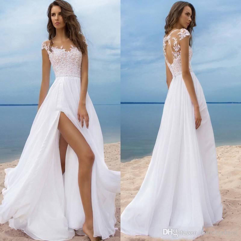Luxus Strand Boho Brautkleider mit kurzen Ärmeln Günstige Chiffon Bohemian Lange Brautkleider High Side Slit Backless robe de mariee Sheer Neck