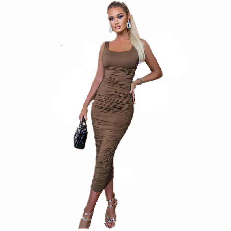 Simenual Ruched Solid Sexy Bodycon Party Dresses Women Elegant Maxi Dress Women Fashion Sleeveless Skinny Clubwear Basic Hot Midi Dress