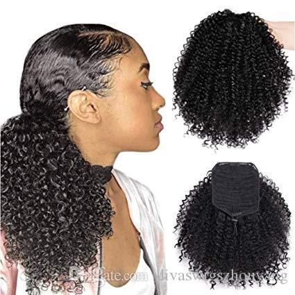 Corto Afro Curly Ponytail Hair Piece para mujeres afroamericanas Black Ponytail Extension Afro Drawstring Curly Ponytail para mujeres (1B #)
