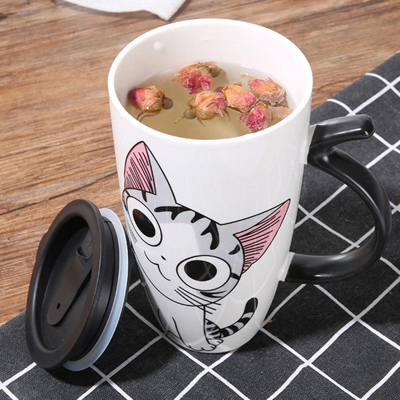 Hot sale 600ml Cartoon creative cat mug With Lid milk coffee mug for tea Porcelain travel Cup Large Capacity ceramic Nice Gifts SH190925